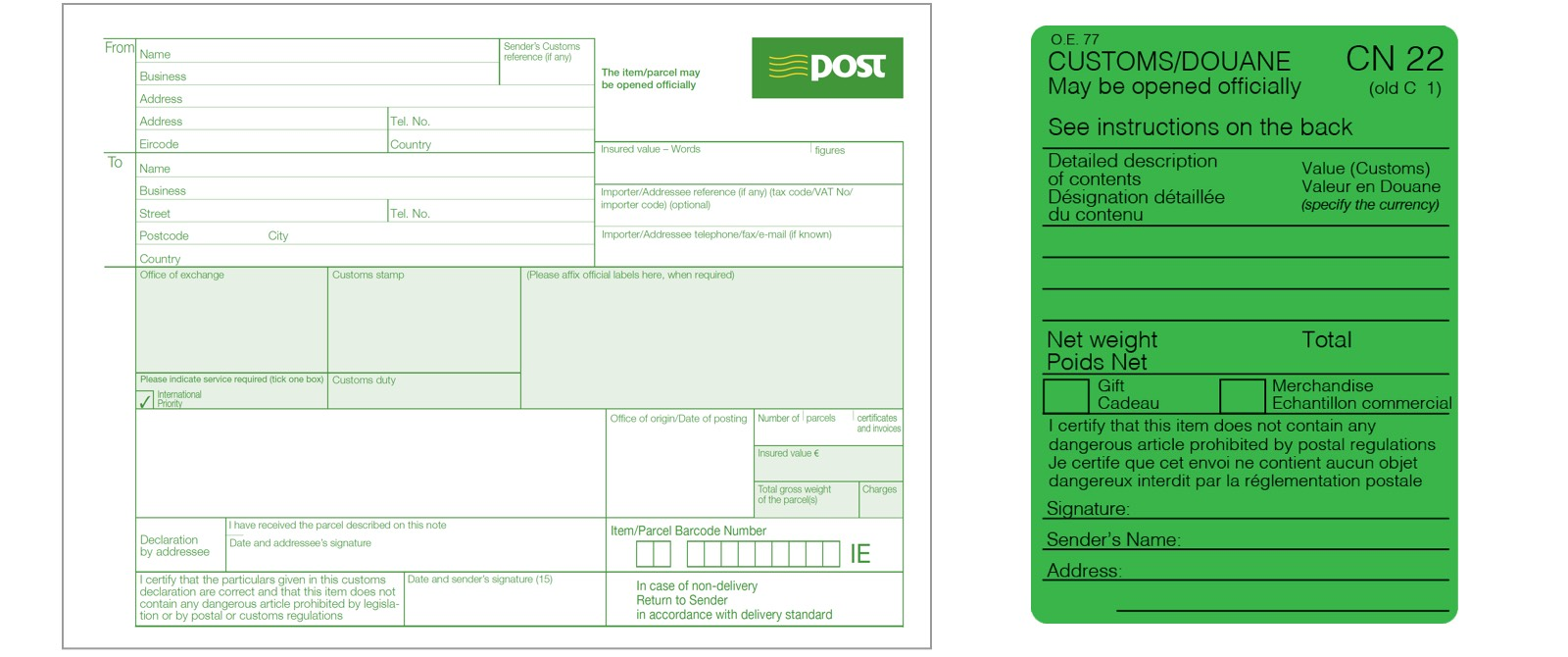 An Post - Your guide to customs charges and forms | Personal