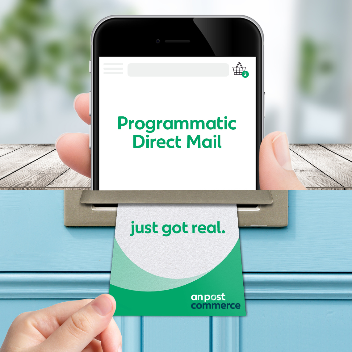 Programmatic direct mail advert on a phone